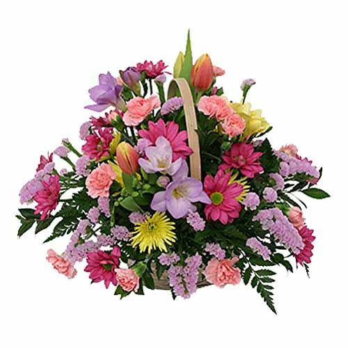 Dazzling Basket Full of Fresh Seasonal Flowers