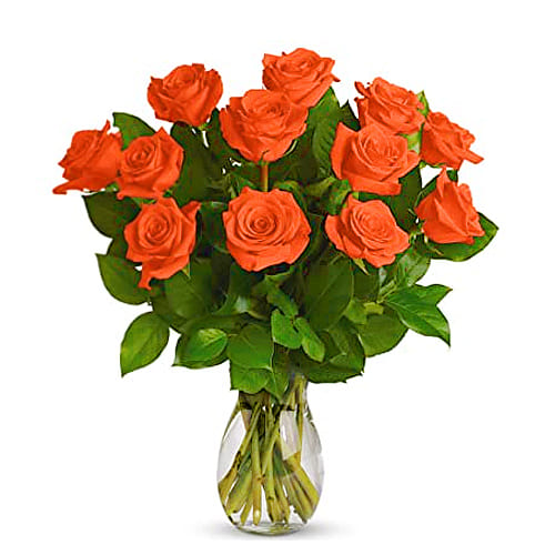 Sensational 12 Orange Roses with Romantic Vase