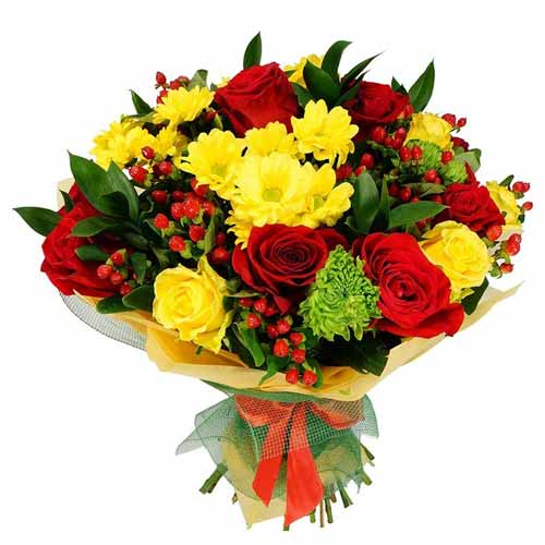 Radiant Mixed Seasonal Flowers Bouquet with Love