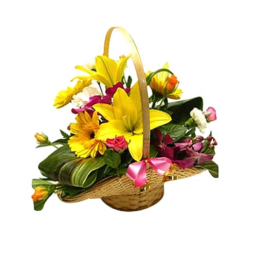 Classic Seasonal Flowers Basket with Love