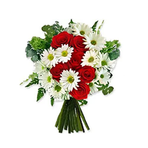Enchanted Always and Forever 6 Luxurious Red Roses and White Daises Bouquet
