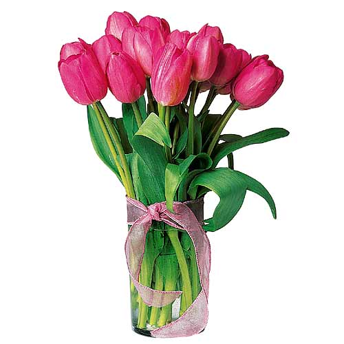 Magnificent Exotic Beauty 10 Pink Tulips Bouquet