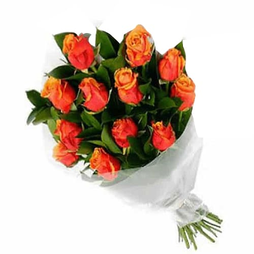 8 Pcs Orange Roses Bouquet