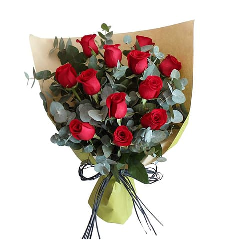 One Dozen American Roses Bouquet