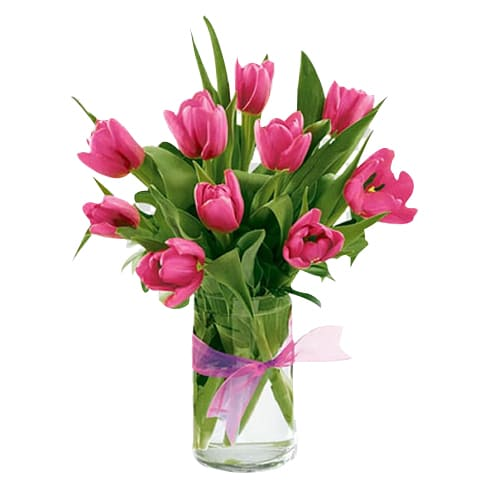 Delightful Selection of Pink Tulips in a Vase