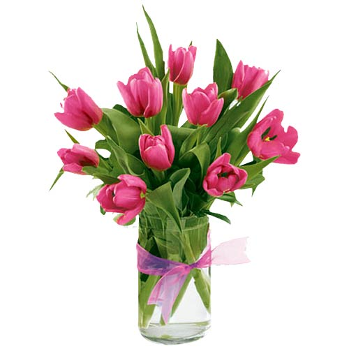 Magnificent Fondest Affection 10 Red Tulip in a Vase