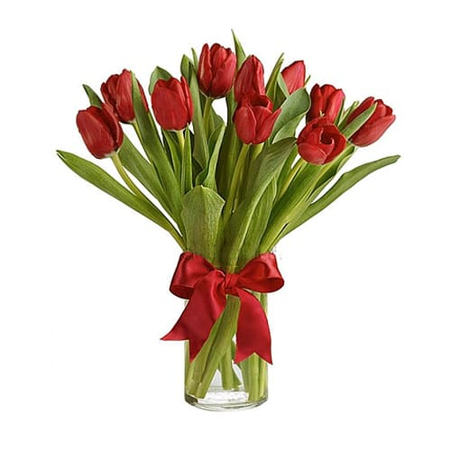 Traditional Dreamy Authentic Love 10 Red Holland Tulip Bouquet