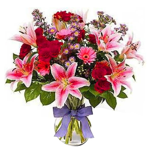 Graceful Seasonal Flowers of Multicolor in Vase