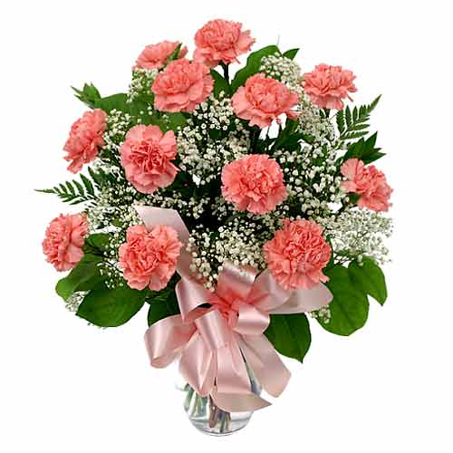 Impressive Love Delight Pink Carnations in a Vase