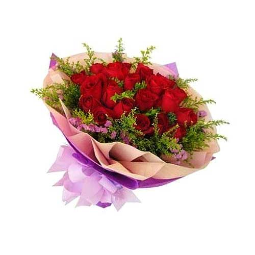 Passionate Blooming Happiness 18 Red Roses Bouquet