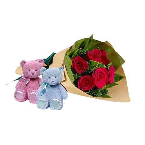 Captivating 6 Roses Arrangement with Twin Teddy