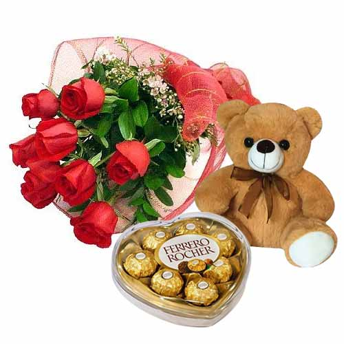 6 Roses Bouquet with Teddy Bear and Ferrero Rocher Chocolate