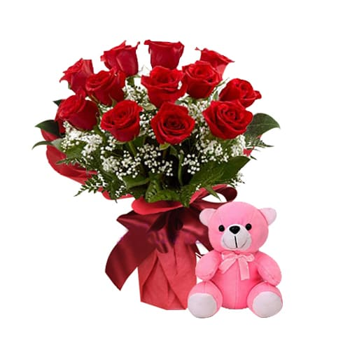 Lovely Red Roses Bouquet with Teddy Bear