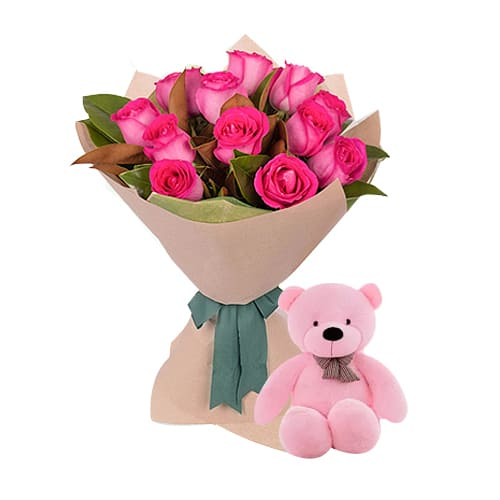 Dozen Sweet Pink Roses with Teddy Bear