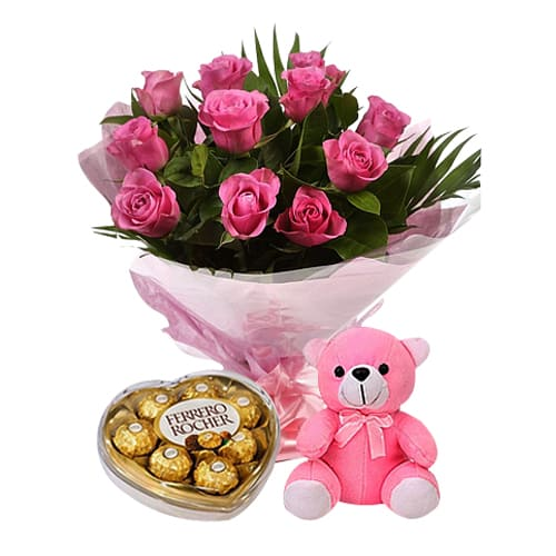Dozen Sweet Pink Roses with Teddy Bear and Chocolates