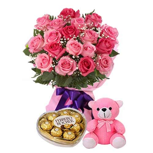 18 Pink Roses with Chocolates and Teddy Bear