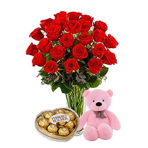 24 Red Roses with Teddy Bear and Ferrero Rocher Box